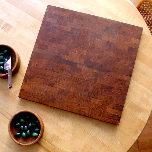 Vintage Brick-Patterned Teak Danish Charcuterie Board