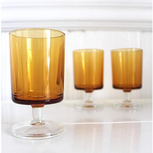 Amber Pedestal Glasses
