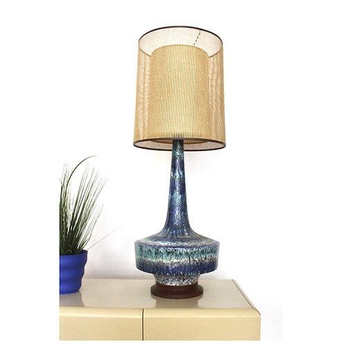 Mid Century Blue Lava Glaze Lamp