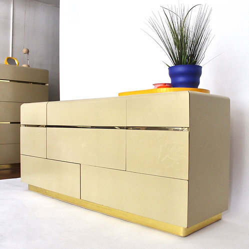Cream Lacquered Low Boy Dresser by Lane Furniture