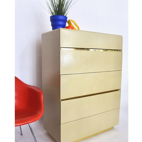 Cream Lacquered High Boy Dresser by Lane Furniture
