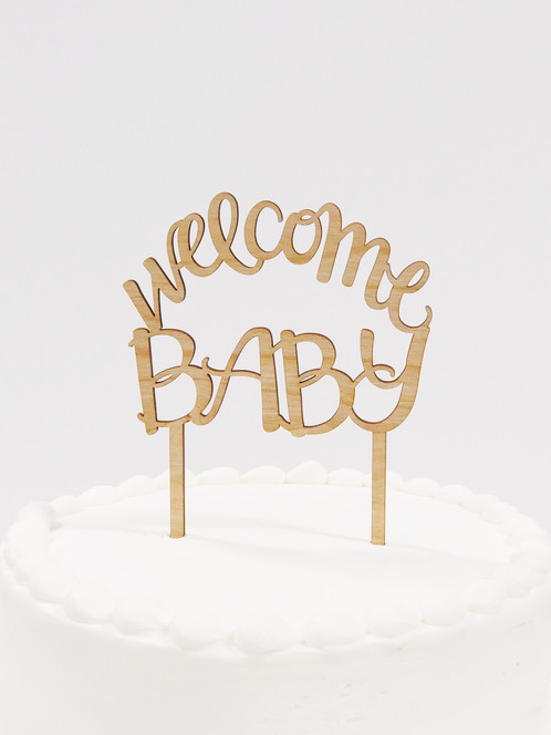 Welcome Baby Wooden Cake Topper, Baby Shower Cake Topper, Baby Boy Shower  Cake Topper ...
