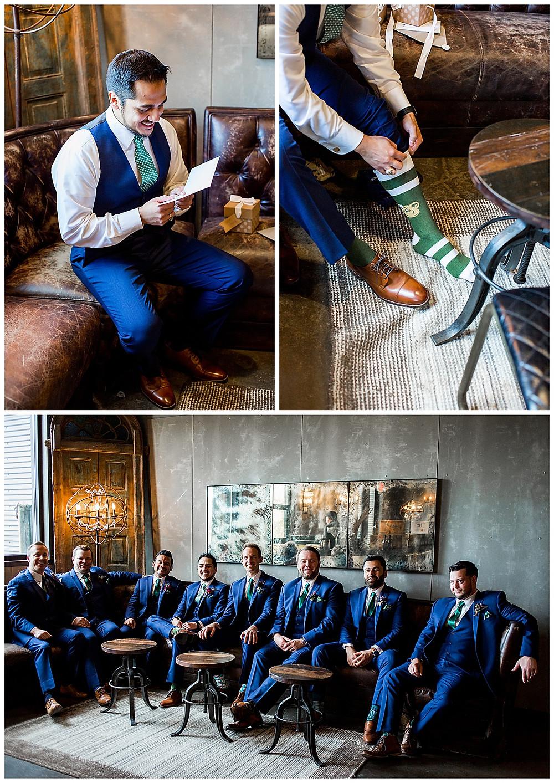 groom and groomsmen in bar