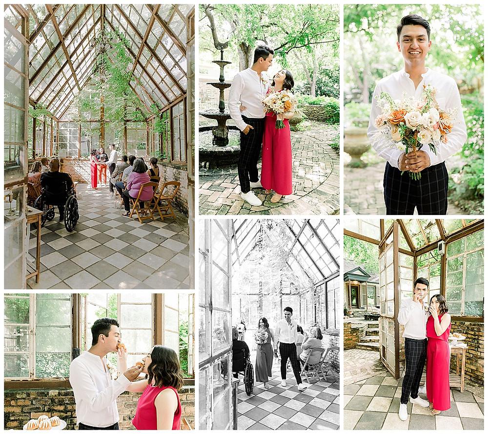 Texas Wedding Venue | Wedding Venue | Outdoor Wedding Venue | Outdoor Wedding | Intimate Ceremony | Intimate Wedding | Postponed Wedding | Greenhouse Wedding | Spring Wedding | Married | Bridal Bouquet