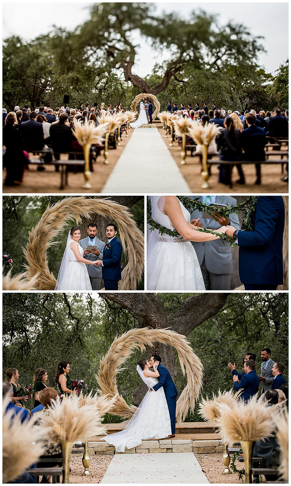 wedding ceremony at park 31 with pampas grass and lasso