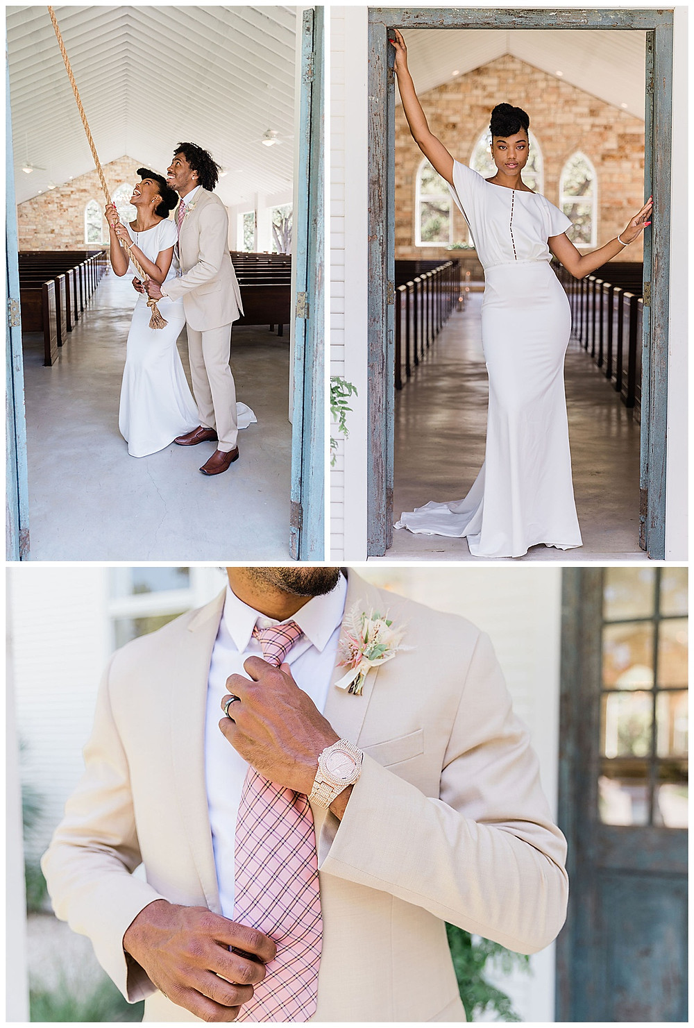 wedding chapel. mission bell. wedding ceremony. bride and groom. modern boho wedding. luxury wedding planner.