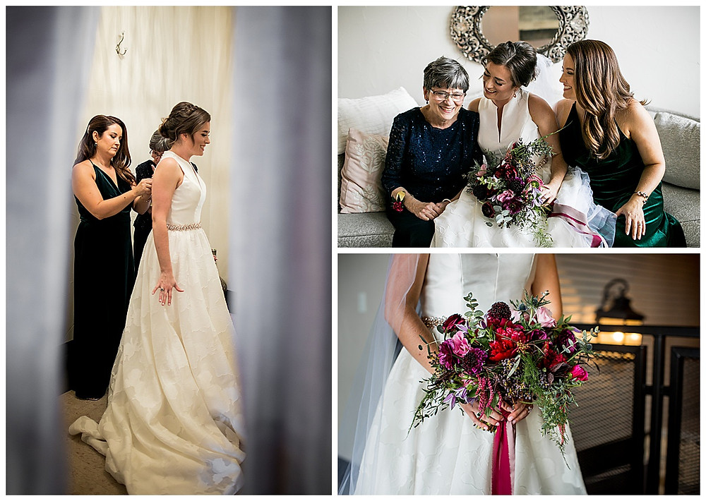 bride getting ready with jewel tone bouquet