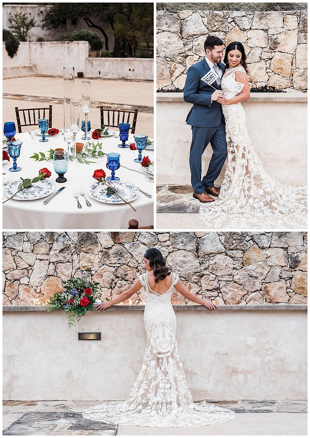 Spanish style wedding. Hill Country wedding. San Antonio Wedding Planner. Blue and white wedding. Bride and groom. Reception design.