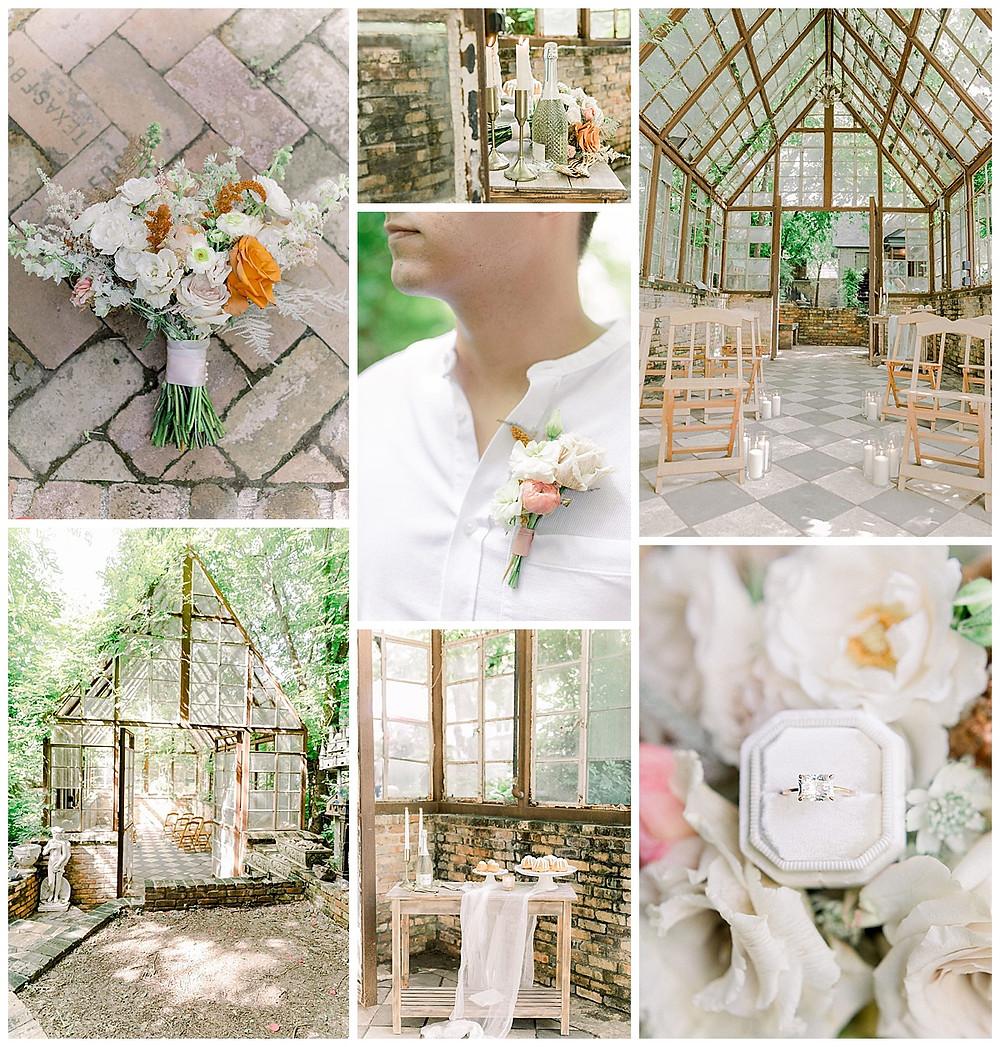 Intimate Ceremony | Minimony | Intimate Wedding | Intimate Spring Wedding | Intimate Outdoor Wedding | Outdoor Wedding | Greenhouse Wedding | Bridal Bouquet | Spring Bouquet | Engagement Ring | Emerald Engagement Ring | Moissanite Engagement Ring