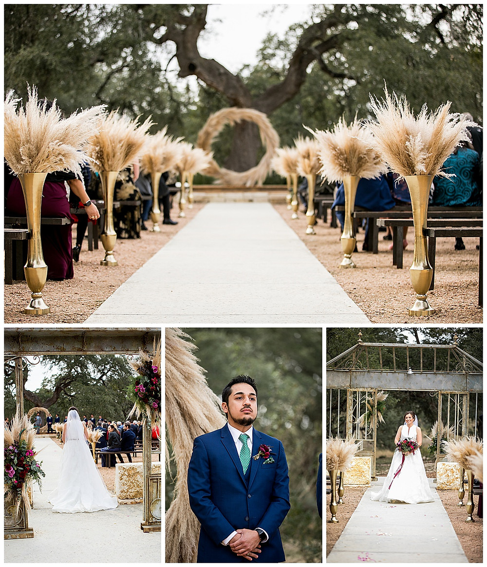wedding ceremony at park 31 decorated with pampas grass
