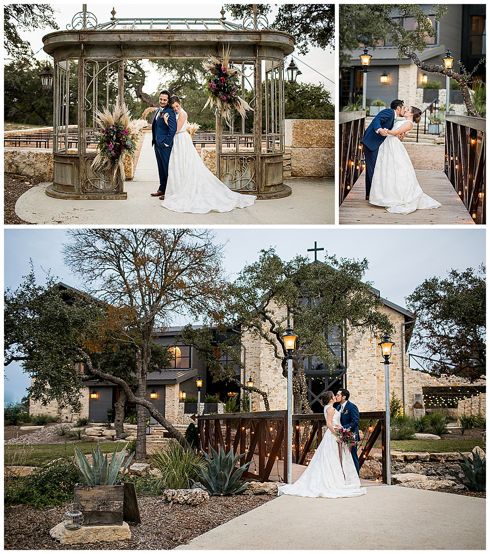 bride and groom portraits at park 31 in spring branch
