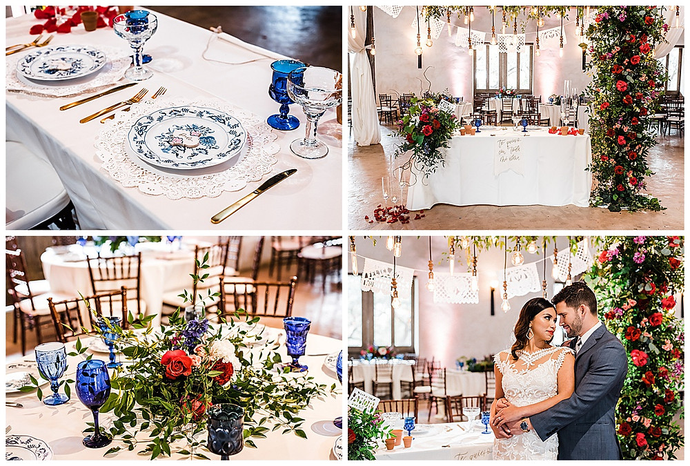 Spanish style wedding. Hill Country wedding. San Antonio Wedding Planner. Blue and white wedding. Bride and groom. Sweetheart table.
