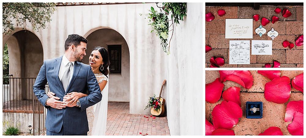 Spanish style wedding. Hill Country wedding. San Antonio Wedding Planner. Bride and groom first look. Bridal rings.