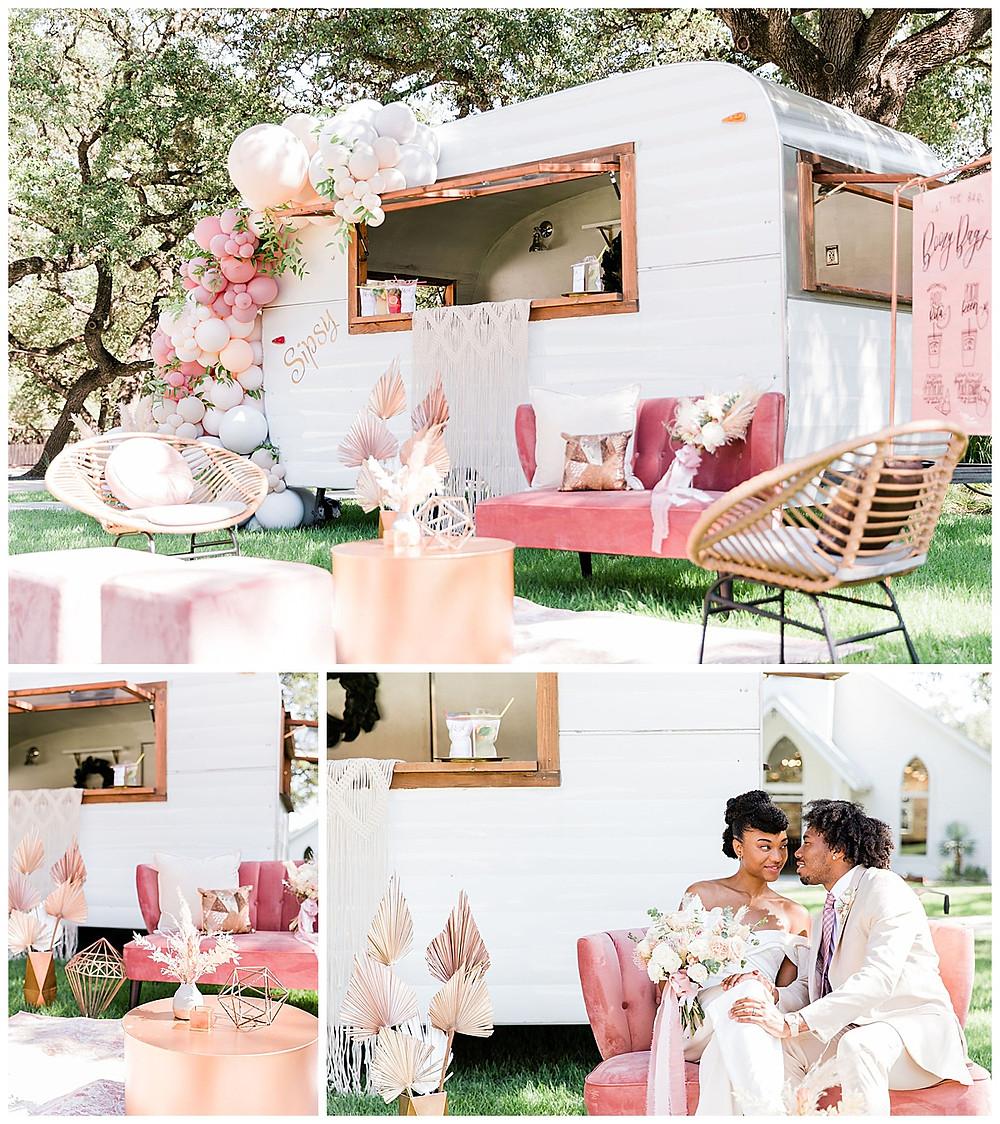 mobile bar. luxury lounge. wedding reception. bride and groom. chandelier of gruene wedding