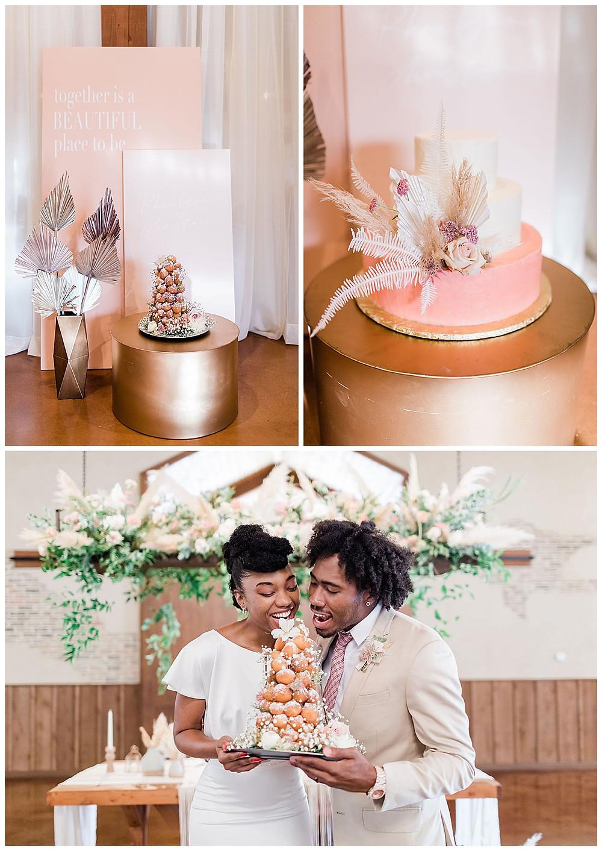 donut tower. wedding cake. bride and groom. wedding reception. chandelier of gruene. luxury wedding