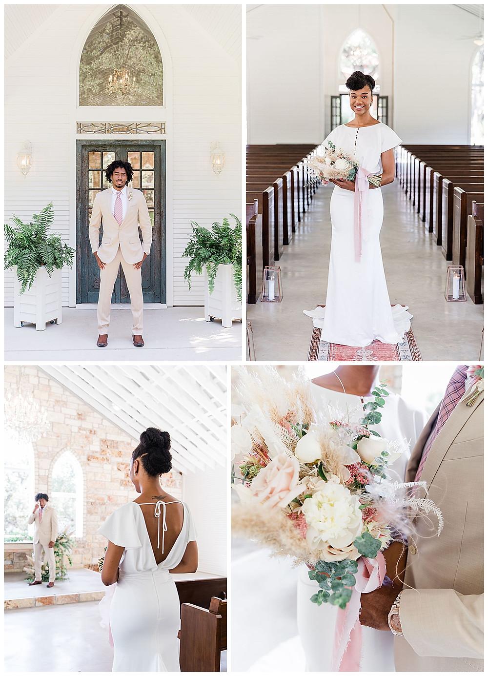 bride and groom. wedding dress. bridal bouquet. chandelier of gruene. new braunfels wedding planner