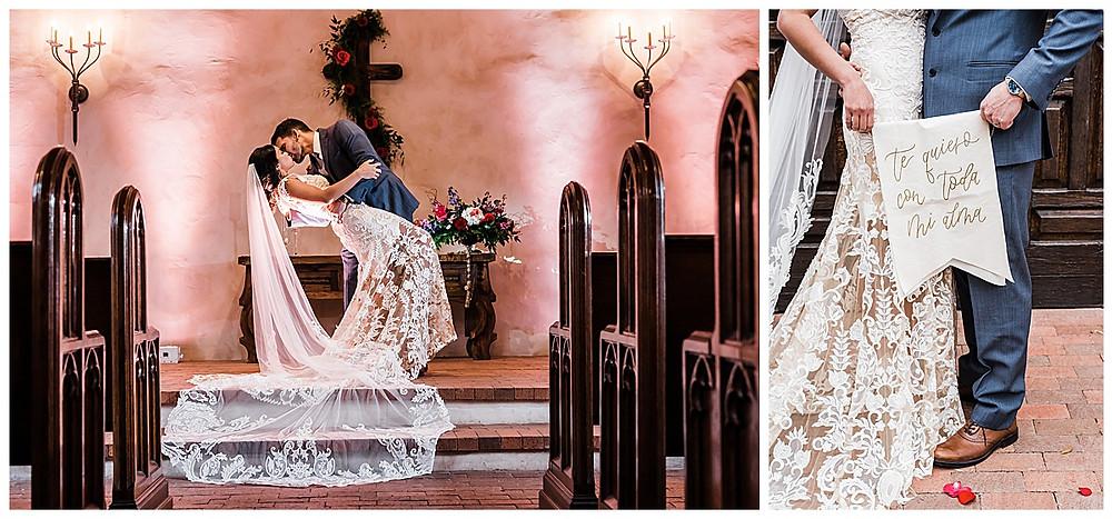 Spanish style wedding. Hill Country wedding. San Antonio Wedding Planner. Spanish chapel. Bride and groom portrait.