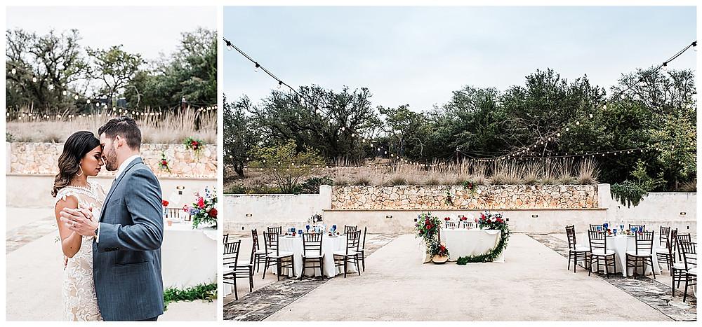 Spanish style wedding. Hill Country wedding. San Antonio Wedding Planner. Bride and groom first dance. Reception design.