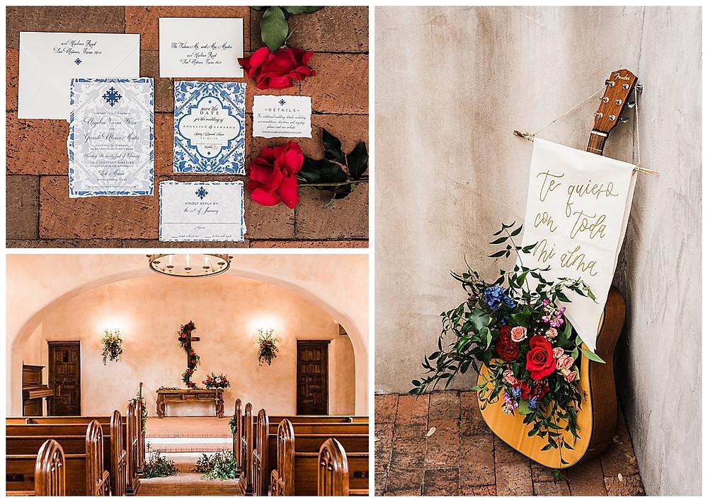 Spanish style wedding. Hill Country wedding. San Antonio Wedding Planner. Blue and white wedding. Spanish chapel.