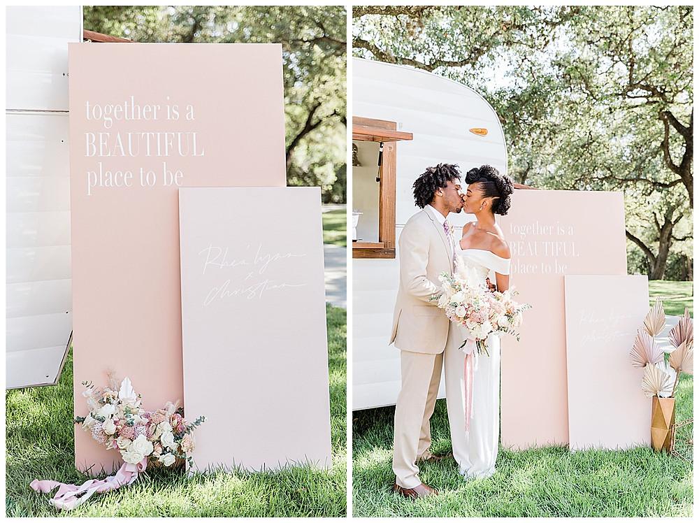 custom decor. wedding signs. bride and groom. bridal jumpsuit. chandelier of gruene. new braunfels wedding planner