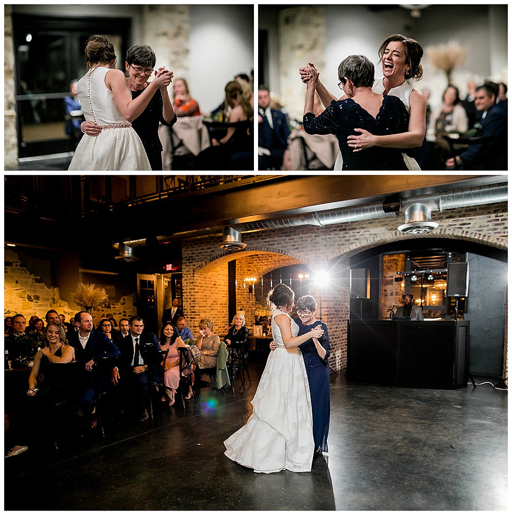 bride and mom dance at reception at park 31 in spring branch, texas