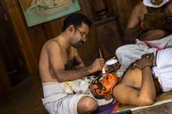 Prepping for Kathakali Performance
