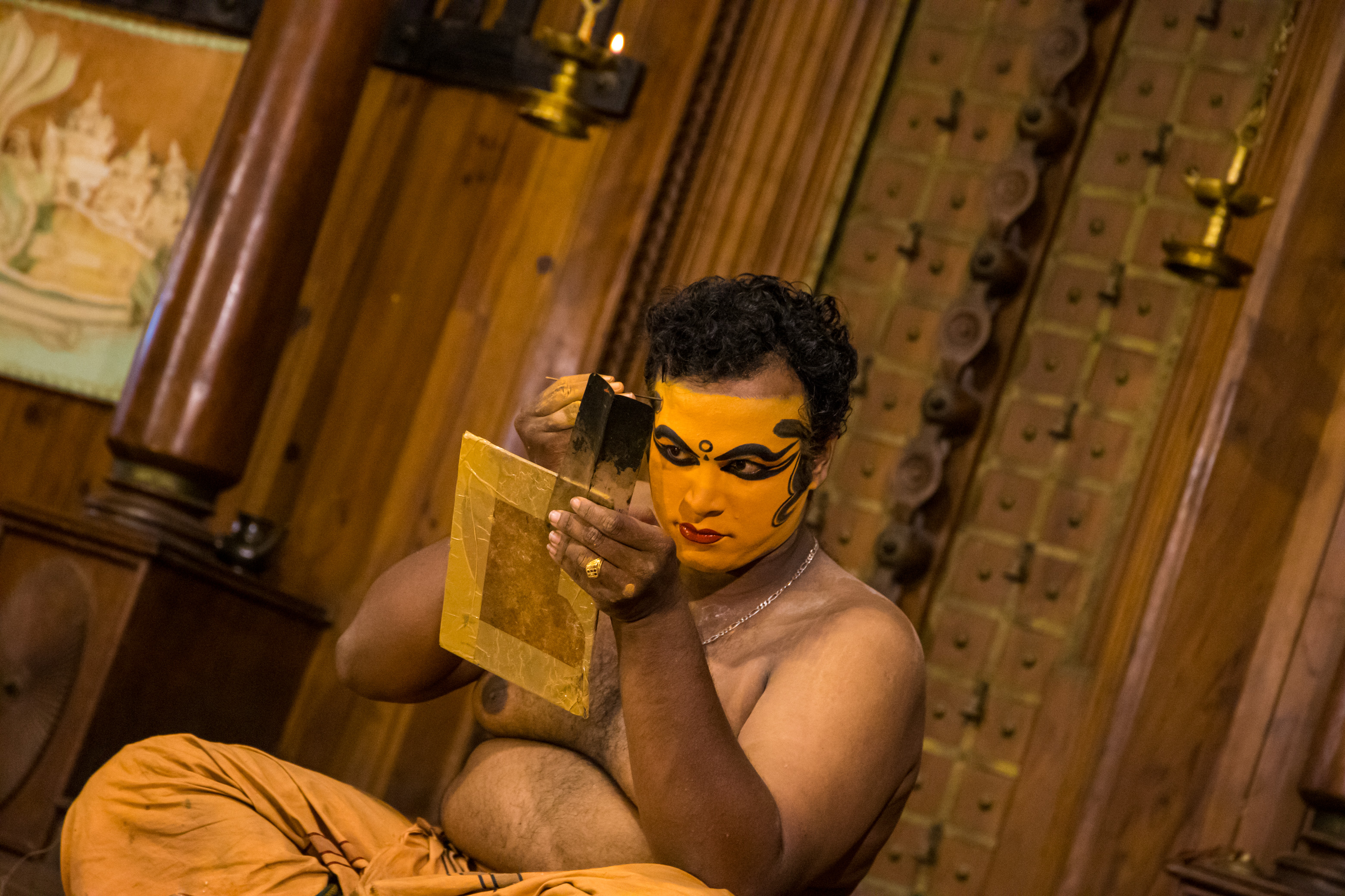 Prepping for Kathakali Performance