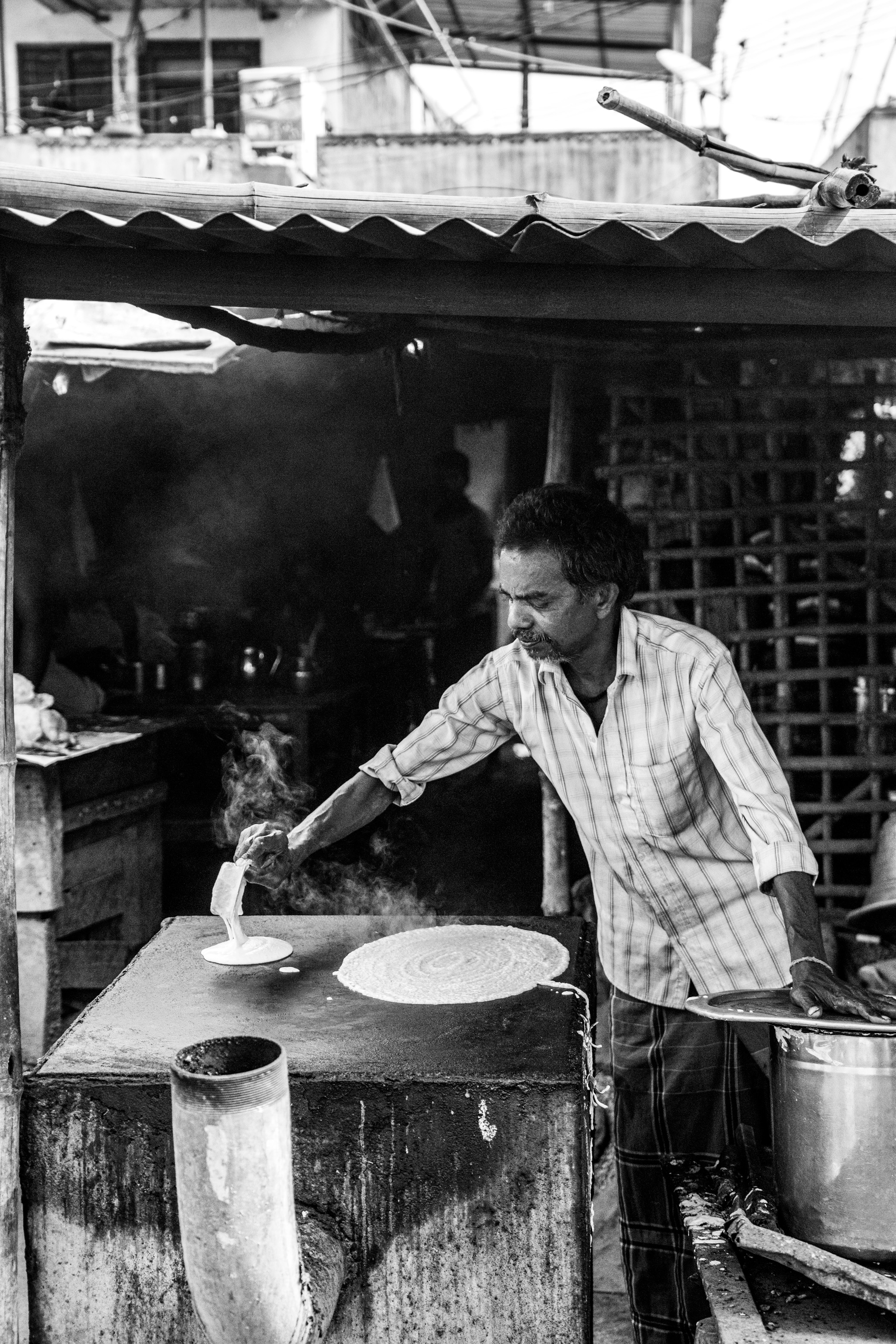 Making Dosa, Black and White