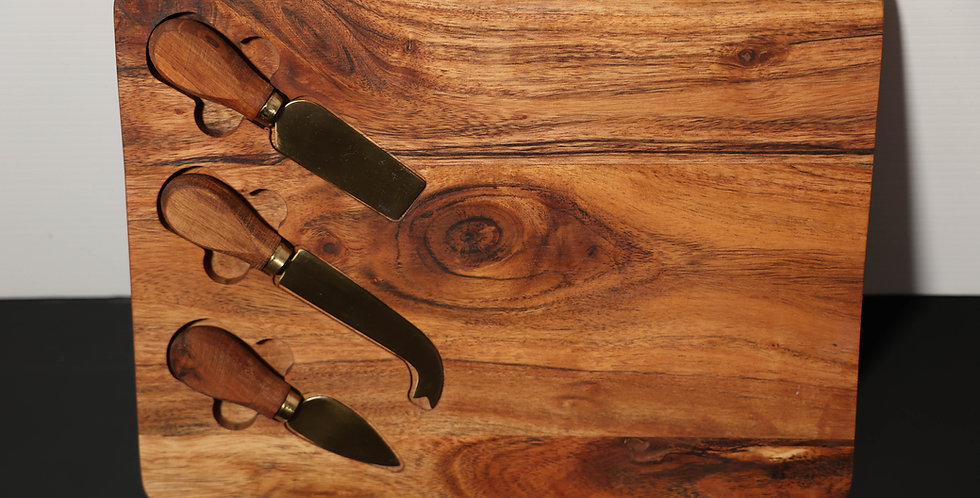 Custom Engraved Chopping Board + Cheese Knife Set 33cm x 25cm