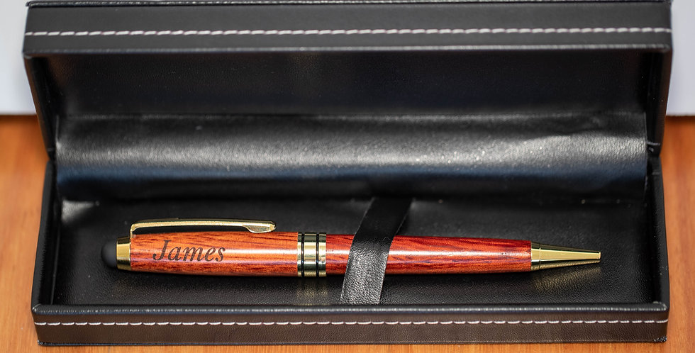 Red Wood Pen w. Stylus and Leather Box