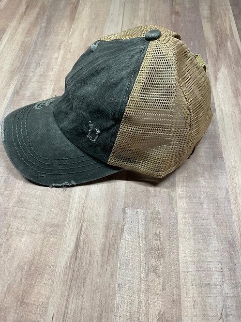 C.C. Criss Cross Charcoal/Beige Hat