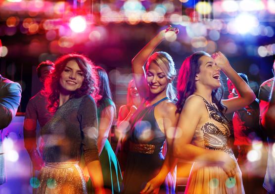 Dancing with dance floor lights