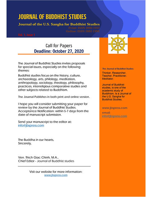 Call for papers JOURNAL OF BUDDHIST STUD