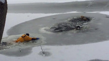Guilford firefighter rescues 2 Huskies who fell through thin ice