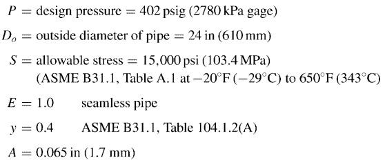 pipe minimum wall thickness calculations parameters