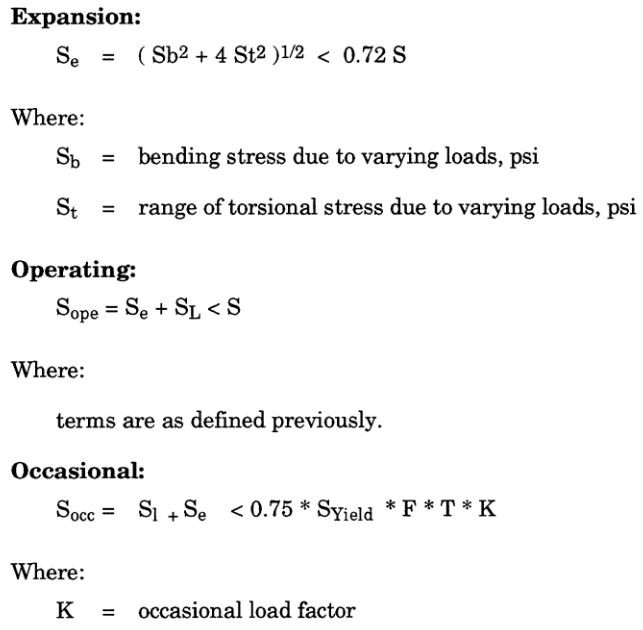piping expansion, operation and occasional stress calculation equation as per ASME B31.8 Gas Transmission and Distribution Piping Code.