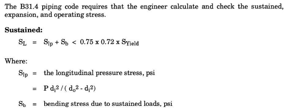 piping sustained stress calculation equation as per ASME B31.4 Fuel Gas Piping