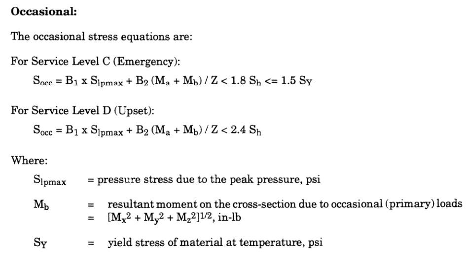 piping occasional stress calculation equation as per ASME Section III, Subsections NC & ND (Nuclear Class 2 & 3)