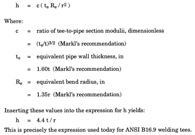 Markl's equation for welding tees