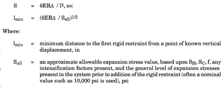 the minimum distance to the first rigid restraint can be calculated using the guided cantilever allowable stress formula by meena rezkallah, p.eng. for pipeling engineering services and piping stress analysis service