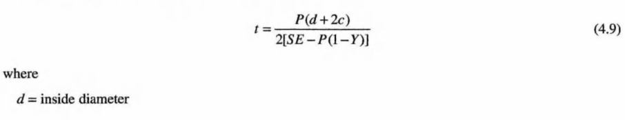 asme b31.3-lame equation