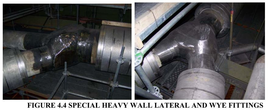 FIGURE 4.4 SPECIAL HEAVY WALL LATERAL AND WYE FITTINGS