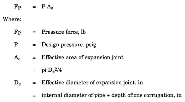 Restraint of Unbalanced Expansion Joint Pressure Loads and  unbalanced pressure load calculation equation by Meena Rezkallah, P.Eng.