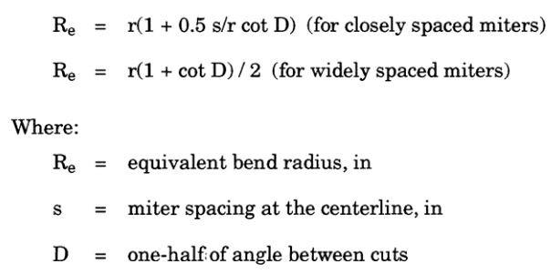 Markl's estimates of equivalent bend radius