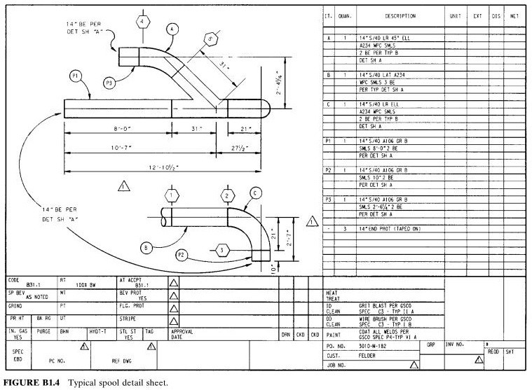 typical spool detail sheet
