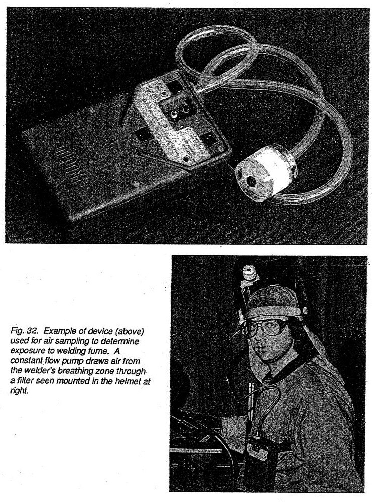 Example of device (above) used for air sampling to determine exposure to welding fume. A constant flow pump draws air from the welder's breathing zone through a filter seen mounted in the helmet at right