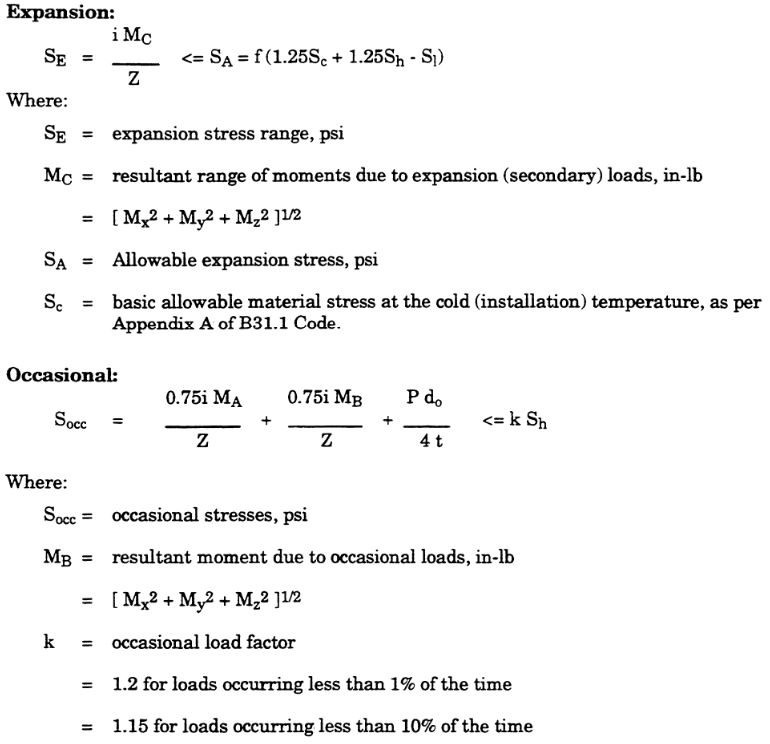 piping expansion and occasional loads as per asme b31.1