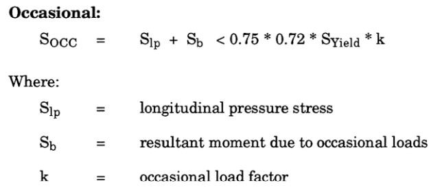 piping occasional stress calculation equation as per ASME B31.4 Fuel Gas Piping