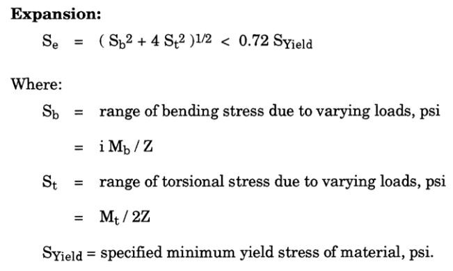 piping expansion stress calculation equation as per ASME B31.4 Fuel Gas Piping