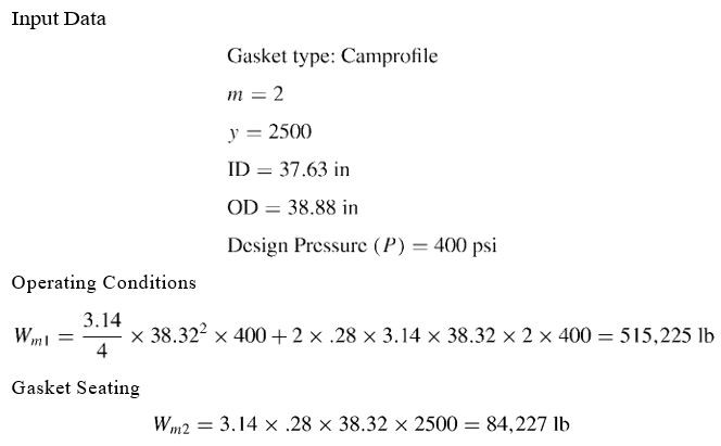 Gasket Selection example